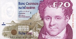 Daniel O'Connell, the only one of my five to be featured on Irish currency gracing the £20 note prior to the Euro.