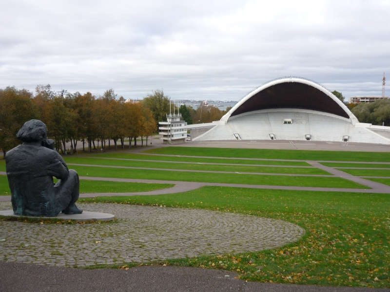Song Festival Grounds overlooked by statue of Gustav Ernesaks, eminent choir leader and composer