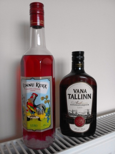 A small sample of Estonian liqueurs. Sugar crystals line the bottom of the Kannu Kukk bottle.
