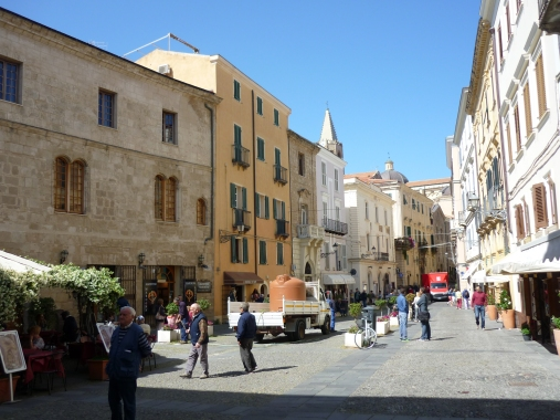 Piazza Civica Alghero Old Town Sardinia Italy