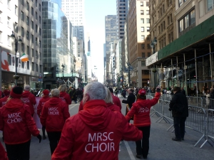 MRSC Choir walking up 5th Avenue in the New York City Saint Patrick's Day Parade