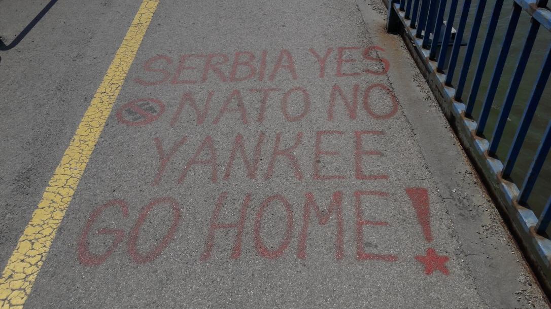 Graffiti on Danube bridge Novi Sad