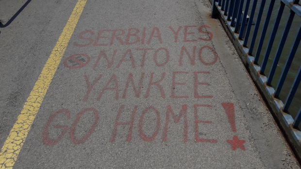 Graffiti on Danube bridge Novi Sad