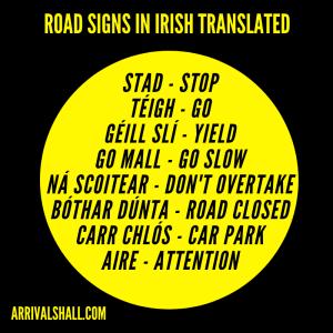 Road signs in Irish language