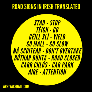 Road signs in Irish language