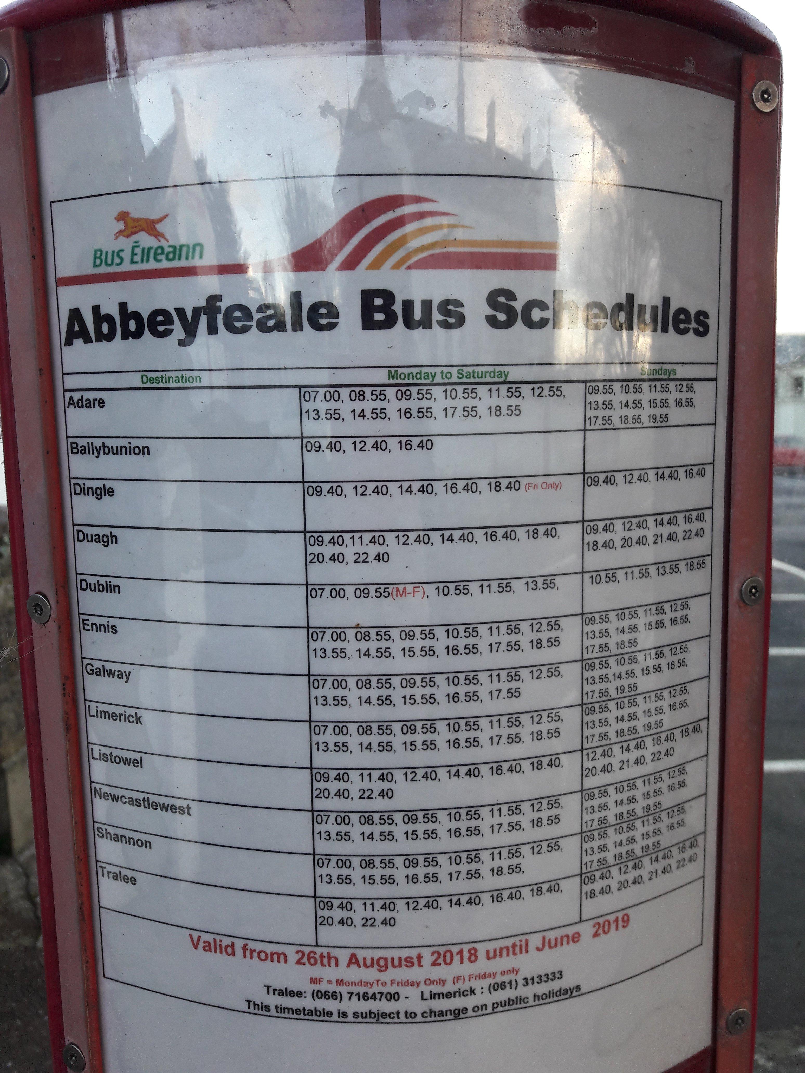 Bus Eireann timetable