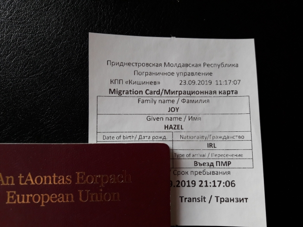 Transnistria Migration Card